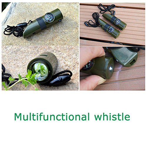 TRENDBOX  3 TRENDBOX Multifunctional 7 in 1 Camping Hiking Outdoor Whistle Compass Magnifier LED Flashlight Thermometer Emergency Survival Traveling