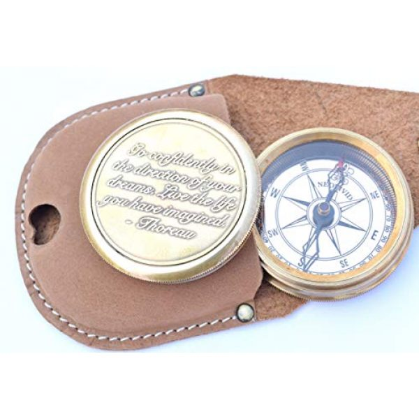 NEOVIVID Survival Compass 3 NEOVIVID Go Confidently Quote Engraved Twist Open Brass Pocket Compass with Leather Case, Directional Magnetic Navigational Compass, Nautical Compass