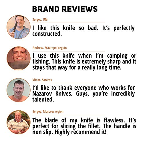 Nazarov Knives Fixed Blade Survival Knife 5 Hunting Knife KATRAN with Hammered Damascus Steel Fixed Blade for Survival, Buck Skinning, Fishing or Camping, Balanced Birchbark Handle, Leather Sheath