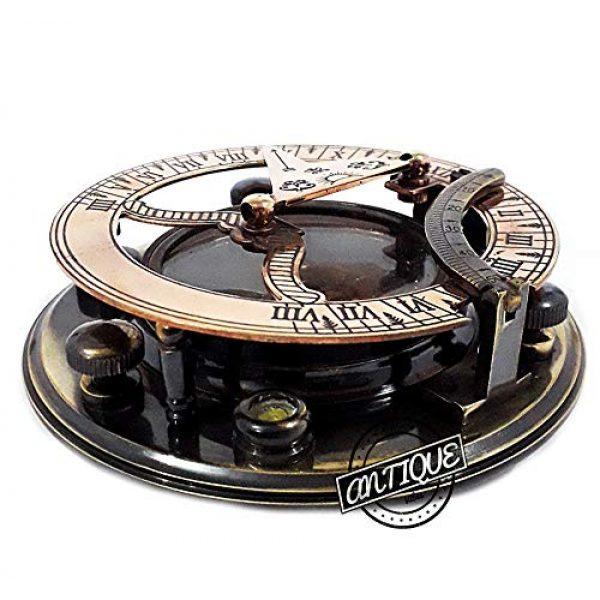 AV Survival Compass 6 AV Maritime Sundial Compass Brass Solid Nautical Sundiel Clock Compasses, Gifts for Travelers, Hiking, Trekking (Antique Finish)