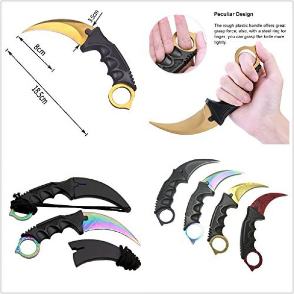 WeTop Fixed Blade Survival Knife 3 WeTop Karambit Knife Set of 1, Stainless Steel Fixed Blade Tactical Knife with Sheath and Cord Knife CS-GO for Hunting Camping Self Defenses and Field Survival - Random Color
