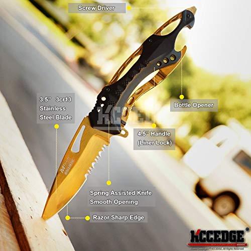 KCCEDGE BEST CUTLERY SOURCE  2 KCCEDGE BEST CUTLERY SOURCE Pocket Knife Camping Accessories Survival Kit Razor Sharp Survival Folding Knife w/Bottle Opener & Screw Driver Camping Gear EDC 55495