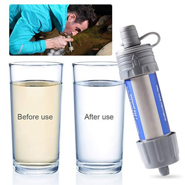 WASAGA Survival Water Filter 2 WASAGA Outdoor Water Filter Personal Water Filtration Straw Emergency Survival Gear Water Purifier for Hiking, Camping, Travel, and Emergency Preparedness