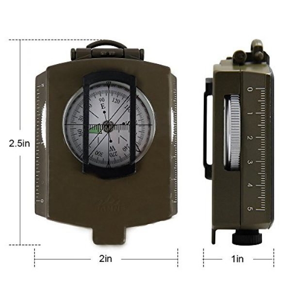 Banne Survival Compass 3 Banne Compass, Waterproof Military Compass,Camping Compass Fluorescent Pointer Compass(Army Green)
