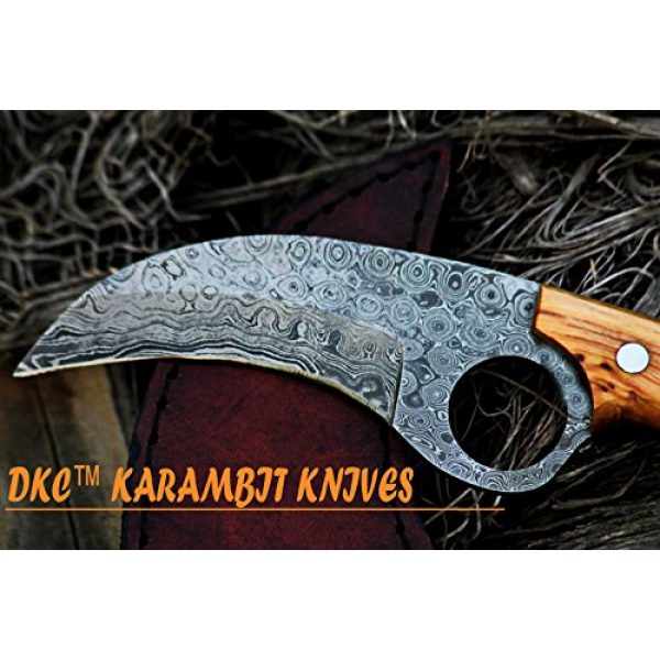 """DKC Knives Fixed Blade Survival Knife 3 DKC Knives (5 5/18) DKC-87-DS OWL Fox Damascus Steel Skinner Hunting Knife 8"""" Long 6.2oz High Class Looks Incredible Feels Great in Your Hand and Pocket Hand Made"""