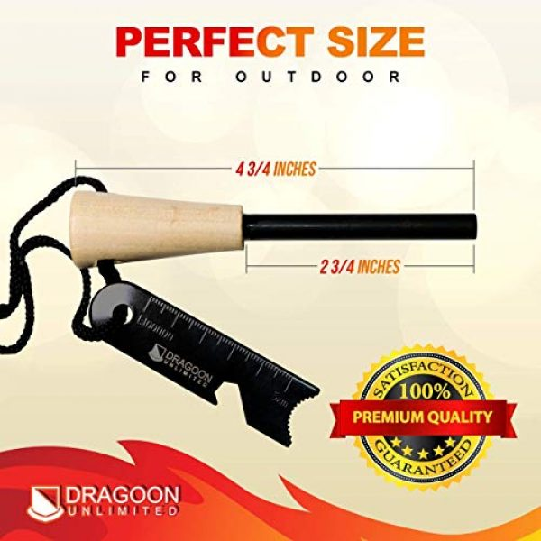 Dragoon Unlimited Survival Fire Starter 4 Dragoon Unlimited Fire Starter Kit - Traditional Bushcraft Ferro Rod - Emergency Survival Tool - Handmade Wooden Handle - Perfect for Camping, Hiking, Adventure Trips - 12,000-20,000 Strikes