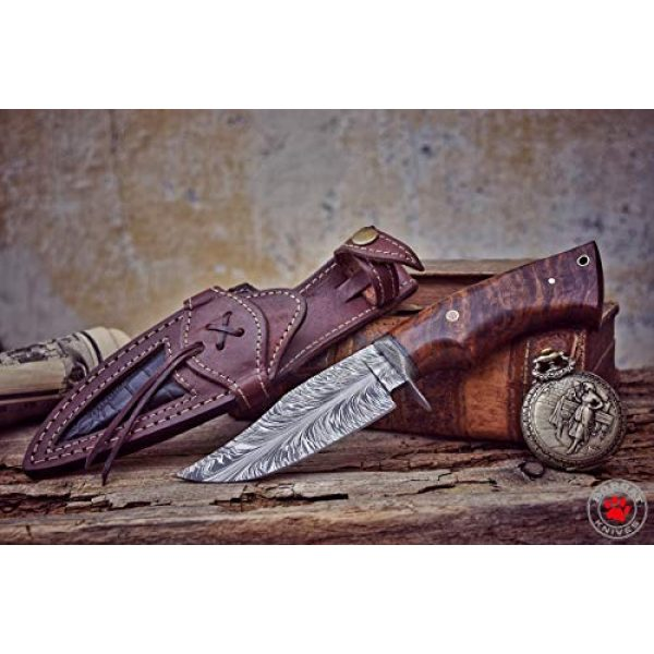 Bobcat Knives Fixed Blade Survival Knife 3 Bobcat Knives -10-inch Overall, Bladesmith Pride, Hunting Bowie Knife - Full Tang Fixed Blade Damascus Steel - Walnut Wood Handle with Leather Sheath