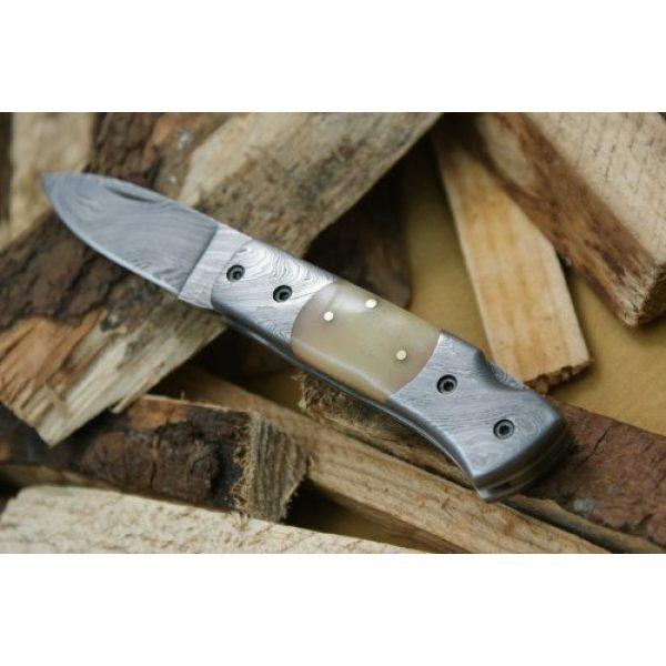 Knife King Fixed Blade Survival Knife 7 Knife King Custom Damascus Handmade Folding Knife. with Leather Sheath