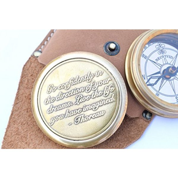 NEOVIVID Survival Compass 2 NEOVIVID Go Confidently Quote Engraved Twist Open Brass Pocket Compass with Leather Case, Directional Magnetic Navigational Compass, Nautical Compass