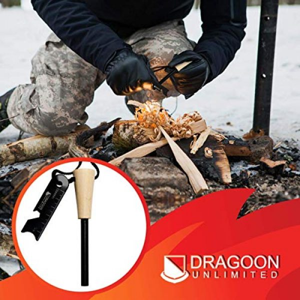 Dragoon Unlimited Survival Fire Starter 2 Dragoon Unlimited Fire Starter Kit - Traditional Bushcraft Ferro Rod - Emergency Survival Tool - Handmade Wooden Handle - Perfect for Camping, Hiking, Adventure Trips - 12,000-20,000 Strikes