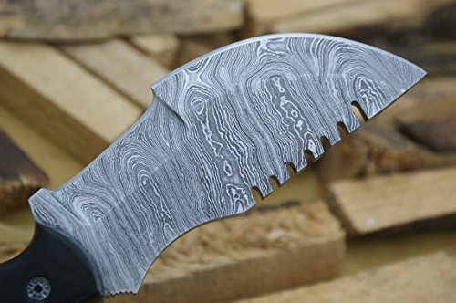 """Knife King Premium  3 Knife King Premium """"Tracker Damascus Hunting Bowie Knife. Micarta Handle.Razor Sharp. Solid Quality Hunter.Comes with a Sheath."""