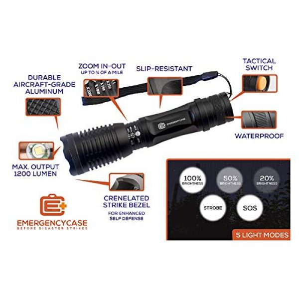E C Emergency Case Before Disaster Strikes Survival Flashlight 6 Emergency Case 5-Mode Tactical LED Including SOS Mode - Waterproof Survival Flashlight - Be Prepared!