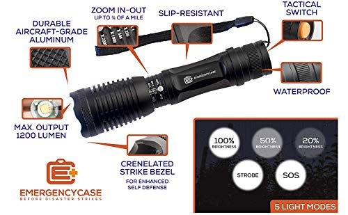 E C Emergency Case Before Disaster Strikes  6 Emergency Case 5-Mode Tactical LED Including SOS Mode - Waterproof Survival Flashlight - Be Prepared!
