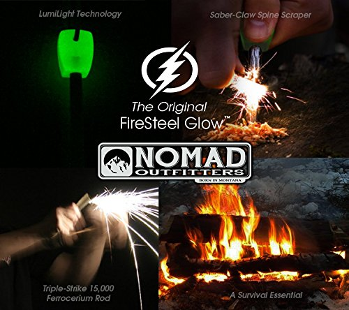 Nomad Survival Fire Starter 6 FireSteel Glow - Glow-In-The-Dark Survival Fire Starter - 15,000 Strike Ferrocerium Rod, Lumilight Luminous Handle, 6 in One Multi Tool, Shock Cord Lanyard, Survival Hiking Hunting Camping Backpacking
