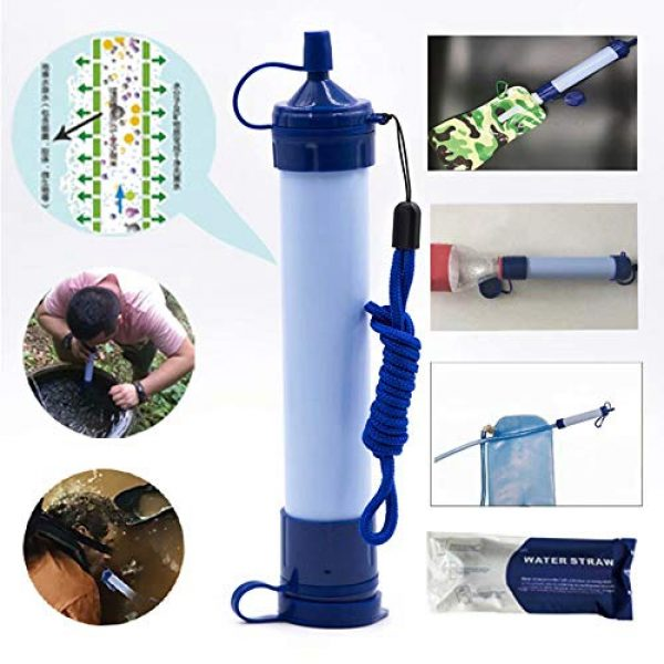 gusuqing Survival Water Filter 5 gusuqing Water Filter Straw - Small Portable Reusable Purifier with Charcoal Filtration System - Water Purifier for Outdoor Hiking,Hunting, Travel and Emergency