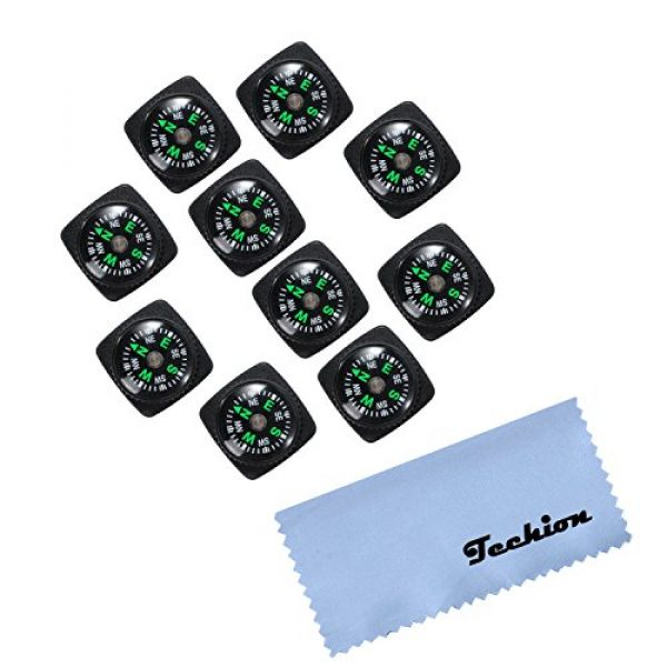 Techion Survival Compass 2 Techion 10 Pack Liquid Filled Compass Set for Emergency Survival Kits/Watchband/Paracord Bracelets and Keychain