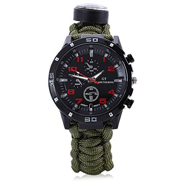 Wsobue Survival Paracord Bracelet 2 Men Women Emergency Survival Watch with Paracord,Compass,Whistle,Fire Starter, Analog Watches, Survival Gear,Water Resistant,Adjustable