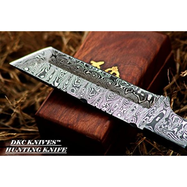 "DKC Knives Fixed Blade Survival Knife 5 DKC-524-DS Tanto Sky Damascus Hunting Knife 10"" Long 10 oz Black Handle 5"" Blade"