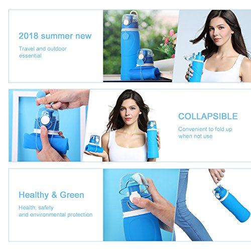 Geekpure  6 Geekpure Collapsible Water Bottle with Filter for Hiking and Camping- Reduce 99.99% Lead Arsenic Fluoride-Silicone BPA Free- 25.6 Ounce