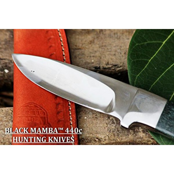 BLACK MAMBA KNIVES Fixed Blade Survival Knife 2 BLACK MAMBA KNIVES BMK-144 Green Fish 4.5 Inches Blade 440c Stainless Steel Hunting Knife Mirror Polished