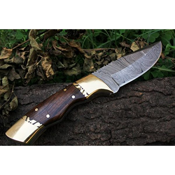"""DKC Knives Fixed Blade Survival Knife 4 15 4/4/18 Sale DKC-523 Gold Finch Damascus Hunting Handmade Knife Fixed Blade 9oz oz 8""""Long 3.75"""" Blade"""