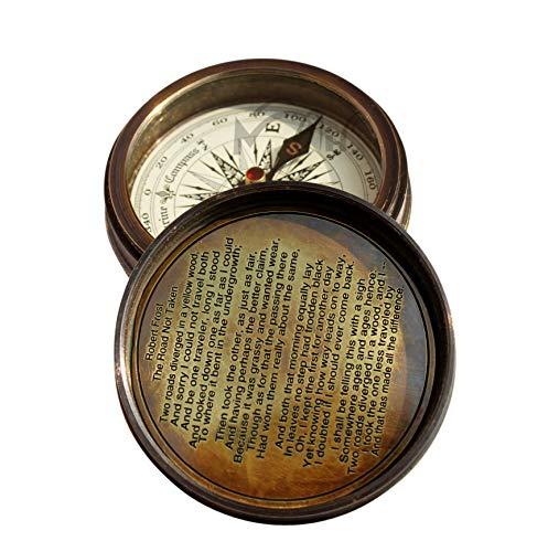 MAH Survival Compass 2 MAH Robert Frost Brass Poem Compass. C-3122