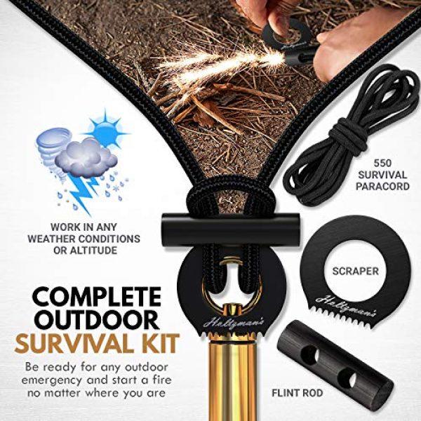Holtzman's Gorilla Survival Survival Fire Starter 6 Ultimate Survival Fire Starter Paracord Necklace - Light Adjustable 550 Paracord EDC & Bushcraft Gear with Ferro Rod & Scraper - Waterproof Wilderness Emergency Lanyard for Camping