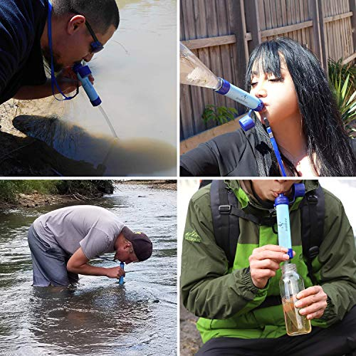 Portable Lightweight Personal Water Purifier Survival Filtration Gear for Hiking Camping Fishing Hunting Backpacking Travel