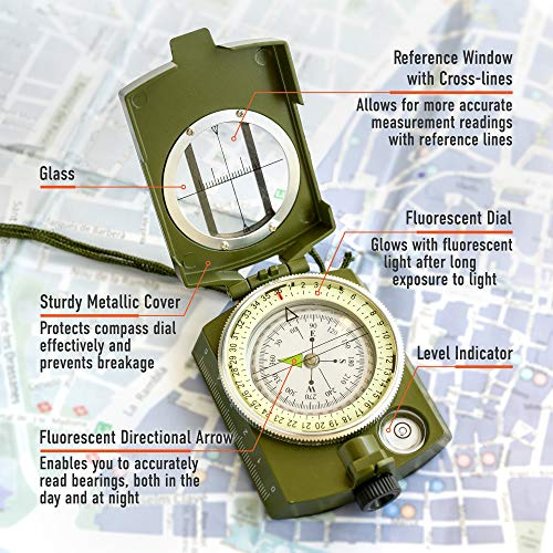 TurnOnSport Survival Compass 3 Lensatic Military Compass Hiking - Tritium Compass Military Grade style Camping Backpacking - Tactical Army Green Compass Survival Navigation - Hiking Waterproof Sighting Compass with Pouch