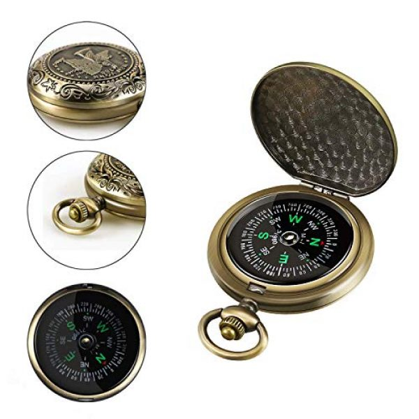 Intsun Survival Compass 5 Intsun Retro Compass Portable Military Compass Fluorescent Glow Survival Gear Compass Outdoor Navigation Compass Tools for Hiking, Camping, Riding, Hunting, Boating, Boy Scout