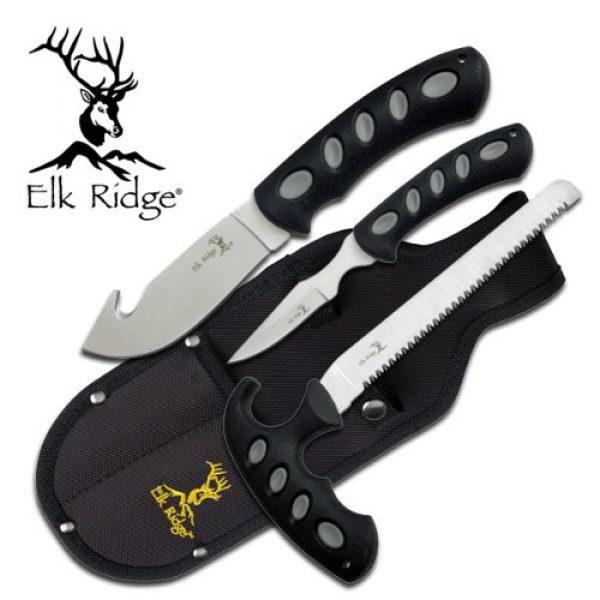 Elk Ridge Fixed Blade Survival Knife 3 Elk Ridge - Outdoors 3-PC Hunting Knife Set - Satin Finish Stainless Steel Blades, Black Nylon Fiber Handles, Includes Combo Sheath - Hunting, Camping, Survival - ER-252