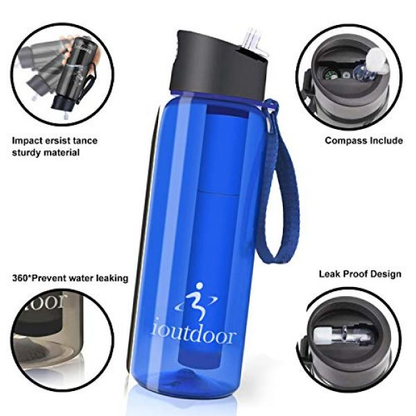 ioutdoor Survival Water Filter 2 ioutdoor Filtered Water Bottle 22oz with One Free Emergency Blanket, BPA Free Tumblers with 2-Stage Intergrated Filter Straw for Camping, Hiking, Backpacking,Travel,Daily Use
