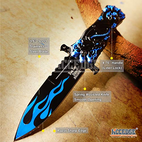 KCCEDGE BEST CUTLERY SOURCE  2 KCCEDGE BEST CUTLERY SOURCE Pocket Knife Camping Accessories Survival Kit Razor Sharp Dragon Skull EDC Survival Folding Knife Camping Gear 55624