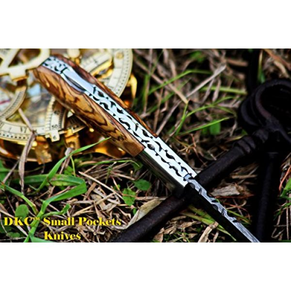 """DKC Knives Folding Survival Knife 6 DKC Knives DKC-58-LJ-OW Little Jay Damascus Folding Pocket Knife Olive Wood Handle 4"""" Folded 7"""" Long 4.7oz oz High Class Looks Feels Great in Your Hand and Pocket Hand Made LJ-Series"""
