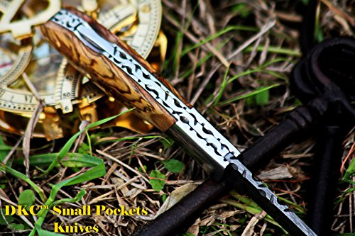 """DKC Knives  6 DKC Knives DKC-58-LJ-OW Little Jay Damascus Folding Pocket Knife Olive Wood Handle 4"""" Folded 7"""" Long 4.7oz oz High Class Looks Feels Great in Your Hand and Pocket Hand Made LJ-Series"""