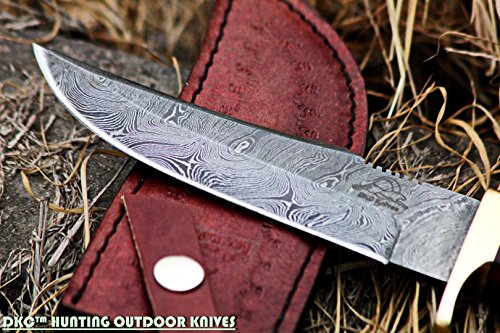 "DKC Knives Fixed Blade Survival Knife 3 DKC Knives (24 5/18) DKC-717 Bald Eagle Damascus Bowie Hunting Handmade Knife Stag Horn Fixed Blade 9.8oz 10"" Long 5"" Blade"