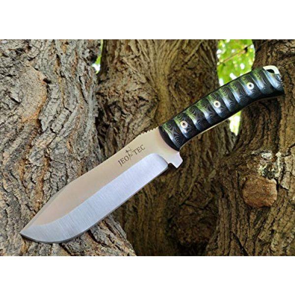 JEO-TEC Fixed Blade Survival Knife 4 JEO-TEC N45 Bushcraft Survival Camping Hunting Fishing Knife, MOVA-58, Genuine Leather Multi-Position Sheath + Firesteel + Sharpener Stone, Handmade