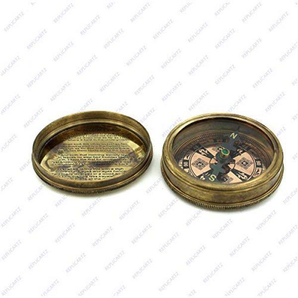 REPLICARTZ Survival Compass 4 Brass Handmade Nautical Poem Compass with leather cover (Thoreu)