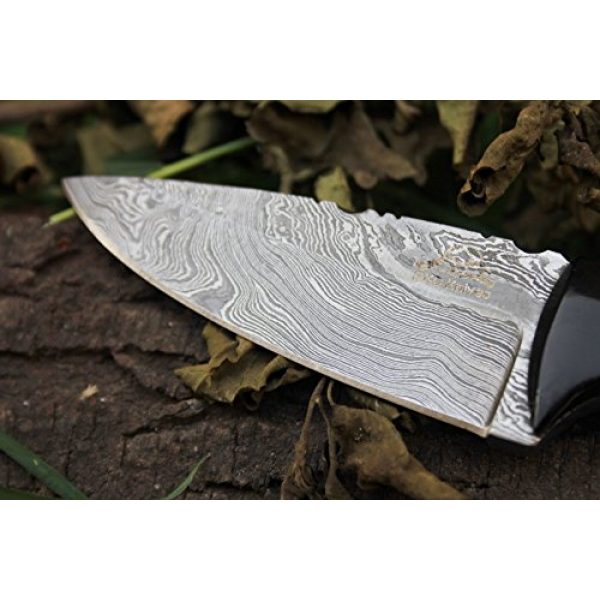 "DKC Knives Fixed Blade Survival Knife 2 Sale (5 9/18) DKC-520 Teton Damascus Steel Hunting Handmade Knife Fixed Blade 5.7 oz 7.75"" Long"