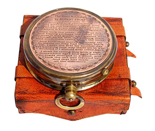 MAH Survival Compass 2 MAH ''Robert Frost Poem'' Engraved Antiquated Finish Brass Compass with Case. C-3240