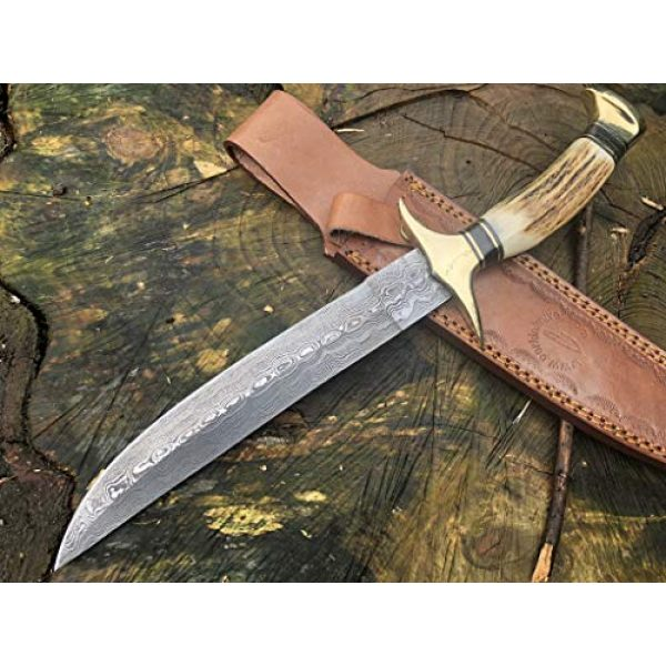 Perkin Fixed Blade Survival Knife 5 Handmade Damascus Steel Hunting Knife - Beautiful Bowie Knife - Amazing Value