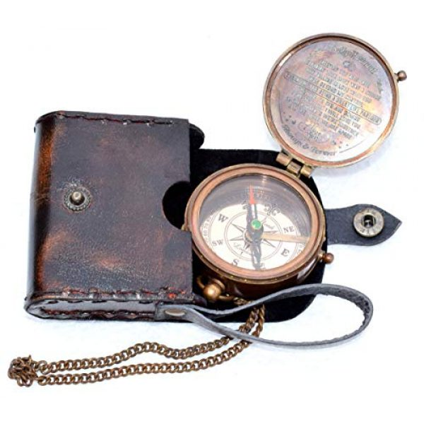 india nautical Survival Compass 6 india.nautical. Grow Old with ME Engraved Brass Compass ON Chain with Leather CASE, Directional Magnetic Compass in