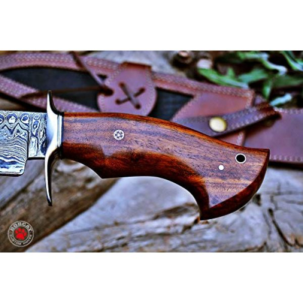 Bobcat Knives Fixed Blade Survival Knife 5 Custom Handmade Bowie Knife Hunting Knife Promotional Price Full Tang Damascus Steel 10'' Solid Walnut Wood Handle with Nice Sheath
