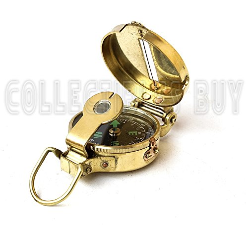collectiblesBuy  6 collectiblesBuy Vintage Old Style Military Compass Nautical Pocket Shiny Brass Navigational Instrument