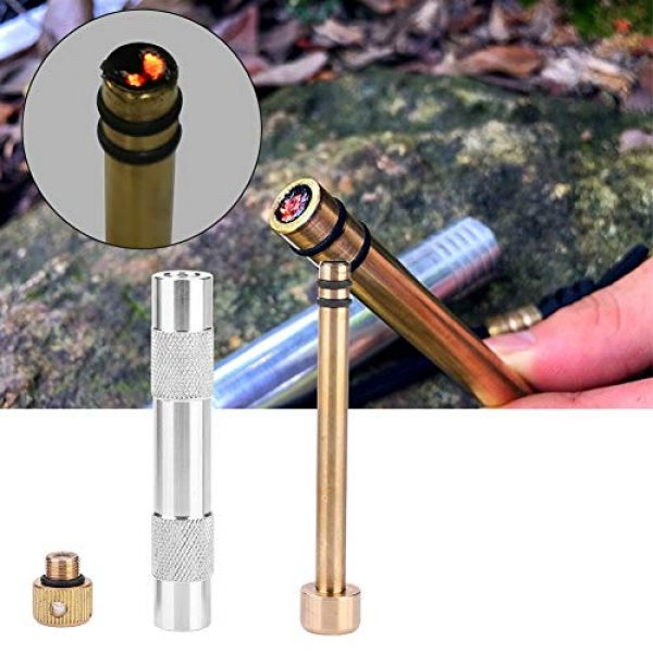 Dioche Survival Fire Starter 5 Fire Starting Tool, Durable Metal Fire Starter Tool Piston Survival Supplies for Outdoor Camping Exploring