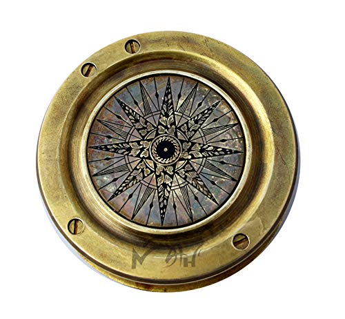 MAH Survival Compass 2 MAH Magnifying Glass Brass Compass with Case. C-3259