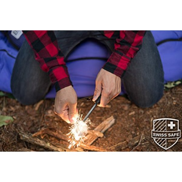 Swiss Safe Survival Fire Starter 6 Swiss Safe 5-in-1 Fire Starter with Compass, Paracord and Whistle (2-Pack) for Emergency Survival Kits, Camping, Hiking, All-Weather Magnesium Ferro Rod