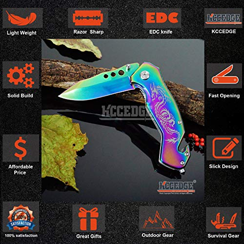 KCCEDGE BEST CUTLERY SOURCE  3 KCCEDGE BEST CUTLERY SOURCE EDC Pocket Knife Camping Accessories Razor Sharp Edge Drop Point Blade Folding Knife Camping Gear Survival Kit 58595