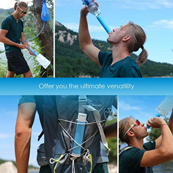 Waterdrop Survival Water Filter 5 Waterdrop Water Filter Straw with Gravity Water Bag, Portable Camping Filtration System, Drinking Water Purifier for Emergency Hiking Travel Backpacking