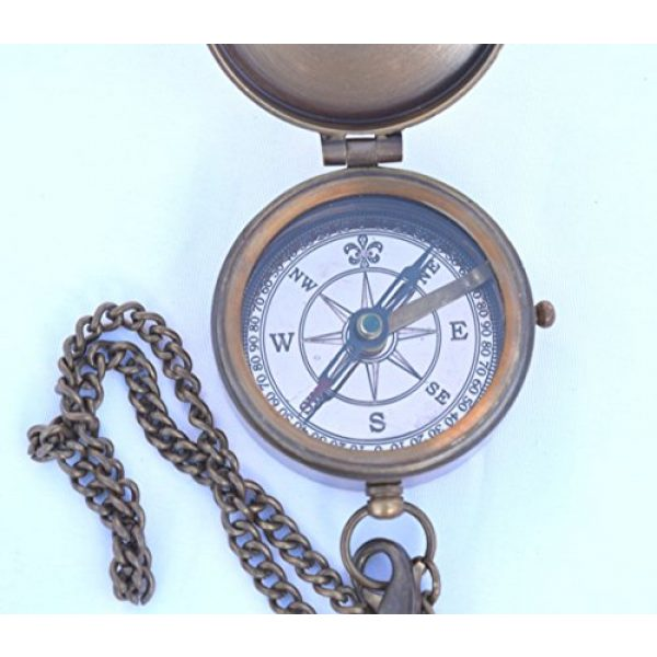 NEOVIVID Survival Compass 4 NEOVIVID Grow Old with ME Engraved Brass Compass ON Chain with Leather CASE, Directional Magnetic Compass